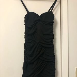 Suzy Shier Ruffled Black Dress